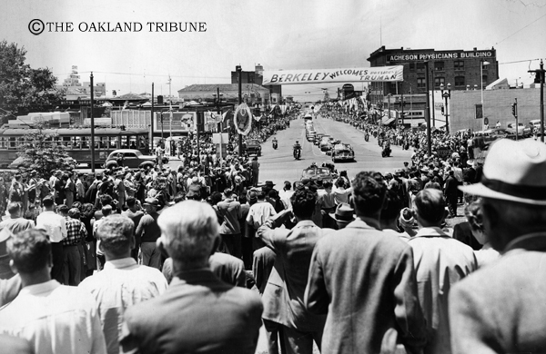 . Berkeley, CA June 12, 1948 - Applauding crowds lined University Avenue to watch President Harry S. Truman and his party drive from the station to the University of California campus. (Tommy McDonough / Oakland Tribune Staff Archives)