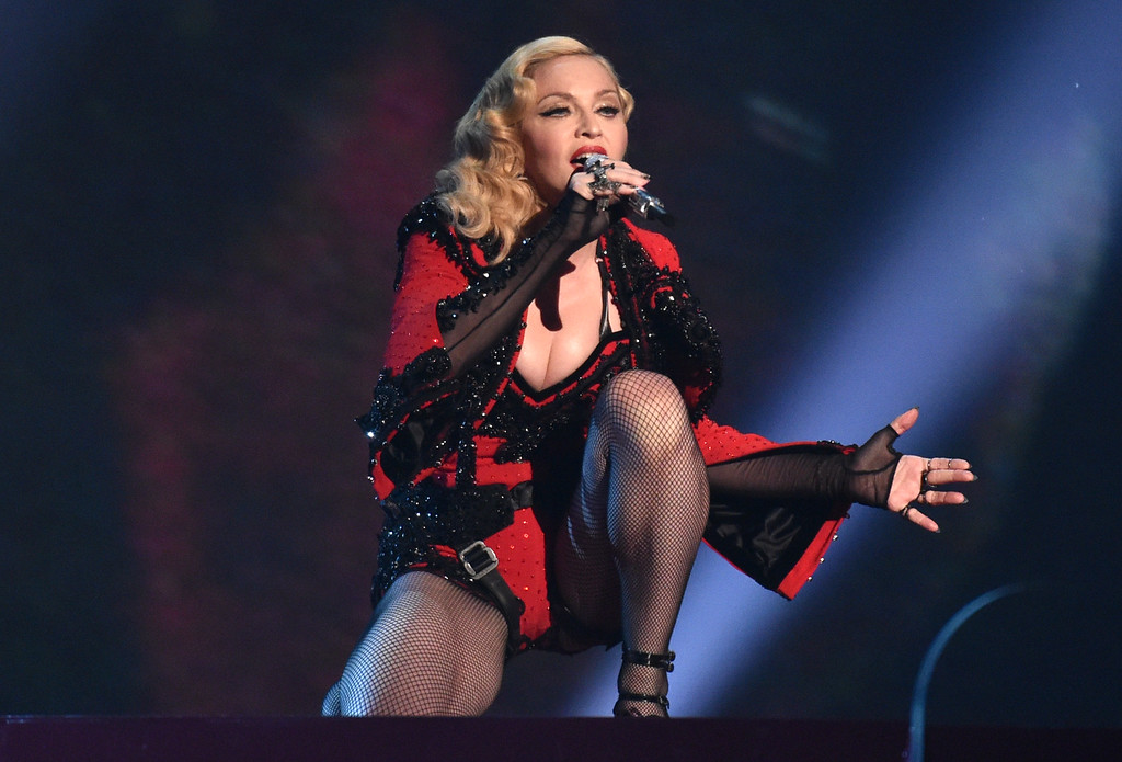 . Madonna performs at the 57th annual Grammy Awards on Sunday, Feb. 8, 2015, in Los Angeles. (Photo by John Shearer/Invision/AP)