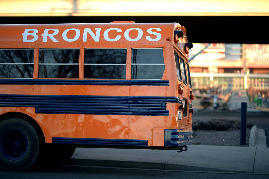 . DENVER, CO. JANUARY 18: The Drive, bus painted Denver Broncos color, is parked south side of Sports Authority Field at Mile High for tailgating. Denver. Colorado. January 18. 2014. (Photo by Hyoung Chang/The Denver Post)