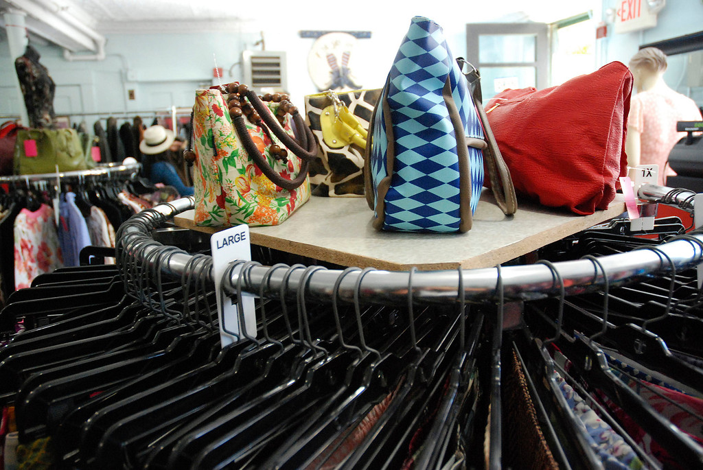 . Kayla Rice/Reformer Colorful bags and clothing fill El Sol Boutique on Main St. in Brattleboro.