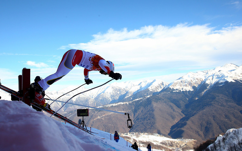 . Morgan Pridy of Canada competes during the Alpine Skiing Men\'s Super Combined Downhill on day 7 of the Sochi 2014 Winter Olympics at Rosa Khutor Alpine Center on February 14, 2014 in Sochi, Russia.  (Photo by Alexander Hassenstein/Getty Images)