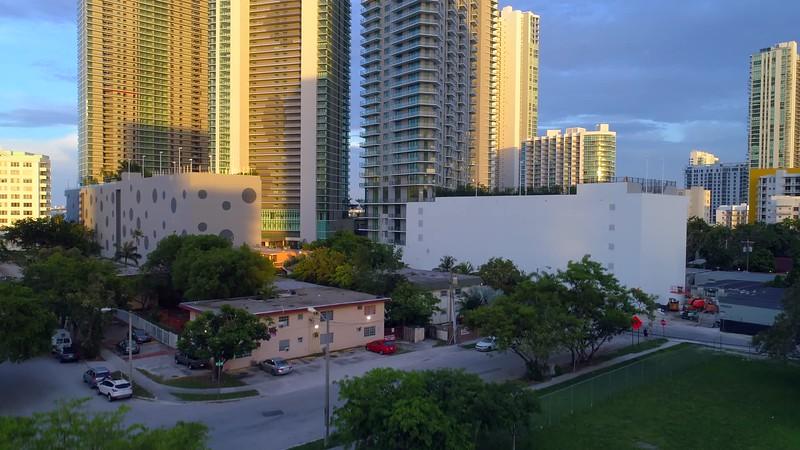 Aerial video of buildings in Miami