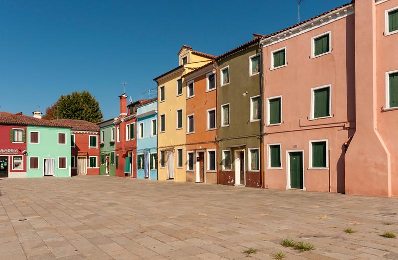 Brightly Painted Houses, Piazza Baldassarre Galuppi, Burano, Venice, Veneto, Italy