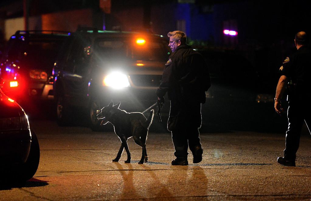 . San Bernardino police investigate the scene of a quadruple shooting in the 2900 block of Mountain Ave in San Bernardino, CA, Friday, March 28, 2014. (Photo by Jennifer Cappuccio Maher/Inland Valley Daily Bulletin)