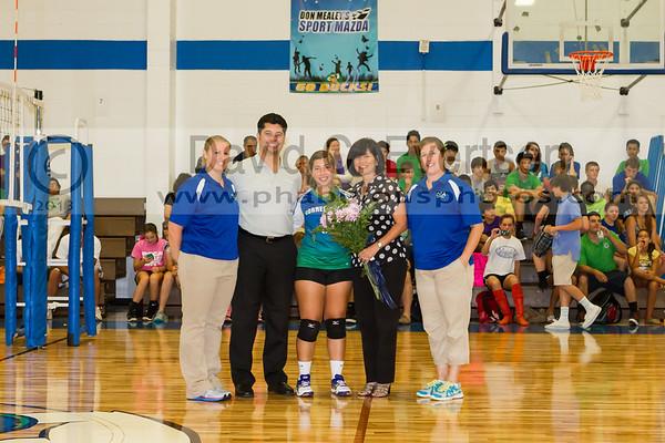 PCCA Eagles @ Cornerstone Charter Academy Ducks Girls Varsity Volleyball Senior Night - 2013