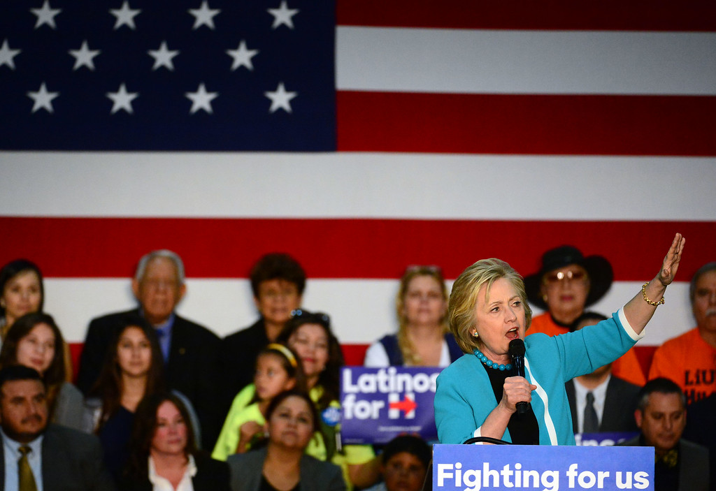 . Democratic presidential candidate Hillary Clinton speaks to supporters during a campaign rally at East Los Angeles College on Thursday, May 5, 2016 in East Los Angeles. (Photo by Keith Birmingham/ Pasadena Star-News)