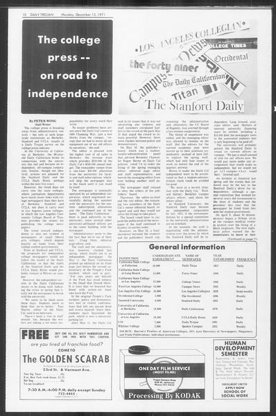 Daily Trojan, Vol. 64, No. 53, December 13, 1971