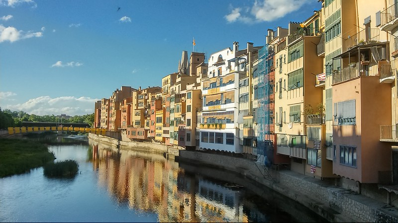 View of Girona's riverside homes on a Girona tour