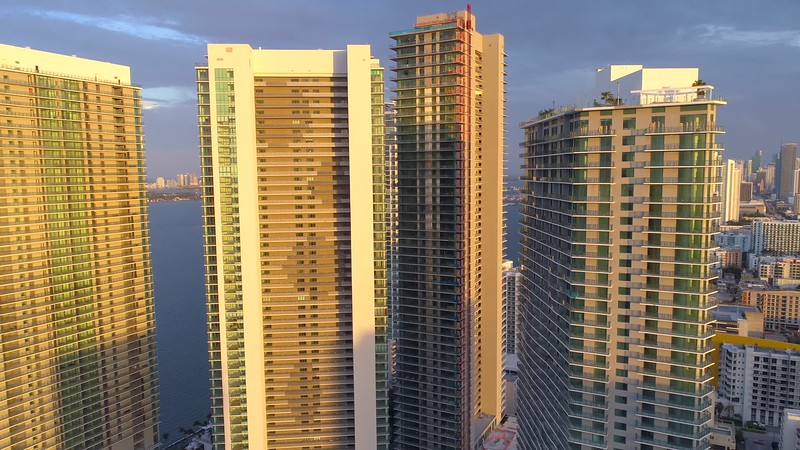 Aerial drone b roll footage of highrise skyscrapers in Miami Florida