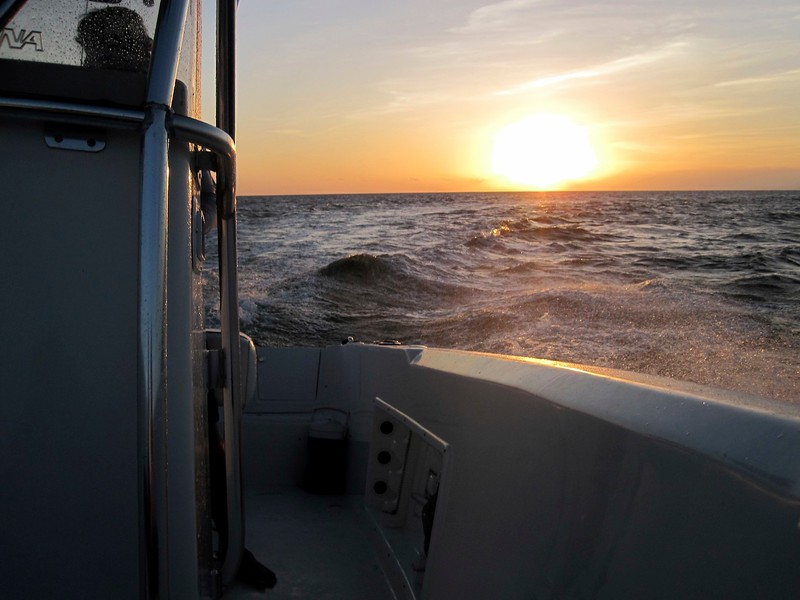 sunset from the front of the boat