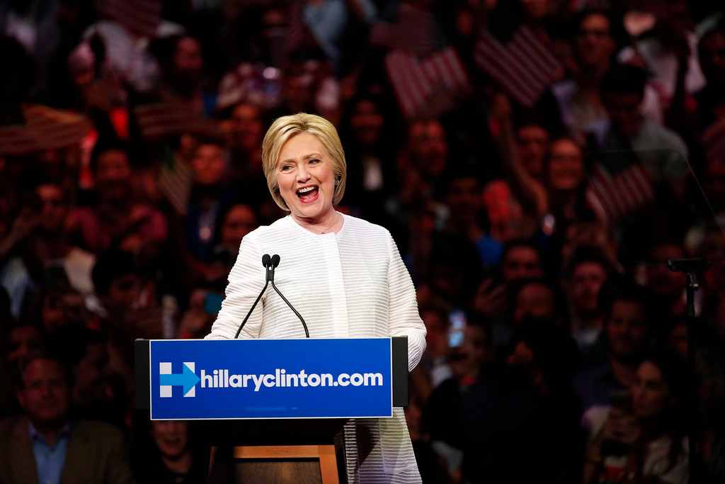 . Democratic presidential candidate Hillary Clinton speaks during a presidential primary election night rally, Tuesday, June 7, 2016, in New York. (AP Photo/Julio Cortez)