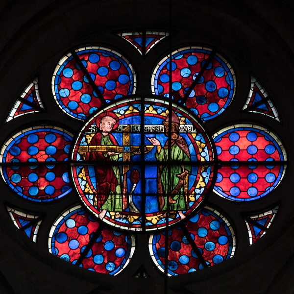 Bourges Cathedral Clerestory Rondel, Saint Andrew with Samuel