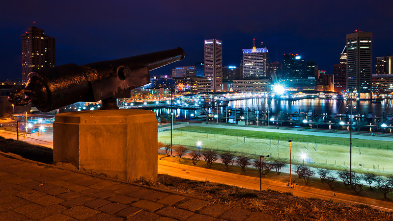 Night View of Inner Harbor from Federal Hill, Baltimore, Maryland