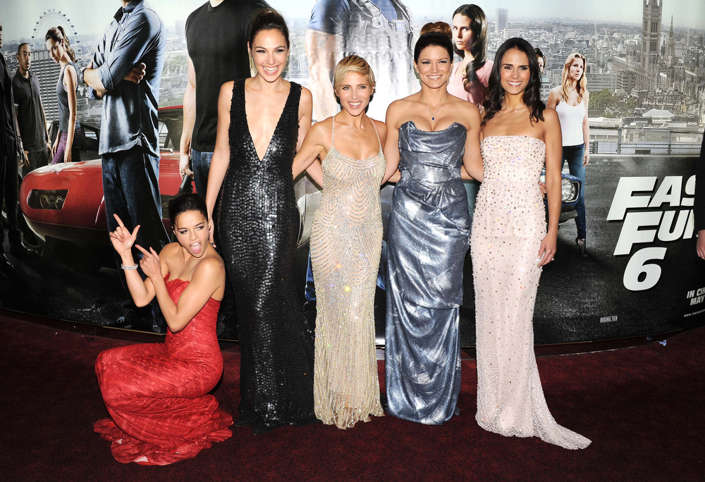 ". Actresses Michelle Rodriquez, Gal Gadot, Elsa Pataky, Gina Carano and Jordana Brewster attend the ""Fast & Furious 6\"" World Premiere at The Empire, Leicester Square on May 7, 2013 in London, England.  (Photo by Stuart C. Wilson/Getty Images for Universal Pictures)"