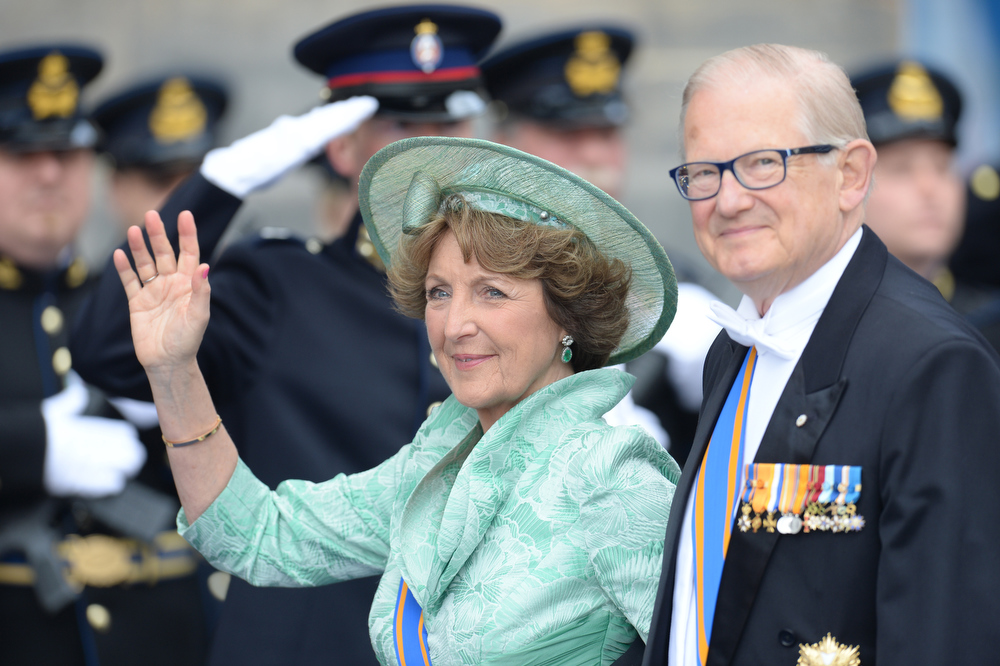 . Princess Margriet of the Netherlands and her husband Professor Pieter van Vollenhoven leave the Nieuwe Kerk (New Church) in Amsterdam on April 30, 2013 after attending the investiture of King Willem-Alexander of the Netherlands.   PATRIK STOLLARZ/AFP/Getty Images