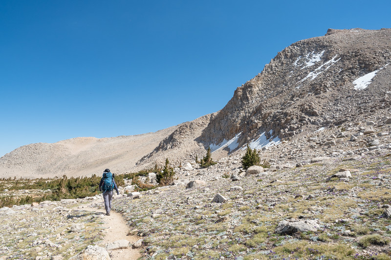 About halfway down to our basecamp at Lake No. 1, still a few hours away.