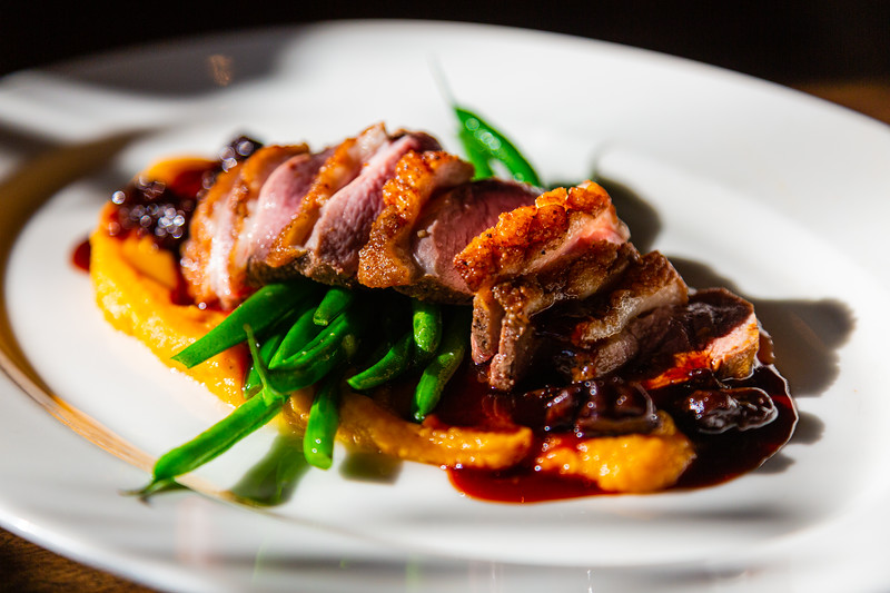 Pan Seared Duck with Butternut Squash Purée, tart Cherry Demi from City Cellar in West Palm Beach, FL on December 6, 2019. City Cellar is turning 20 years old.[JOSEPH FORZANO/palmbeachpost.com]