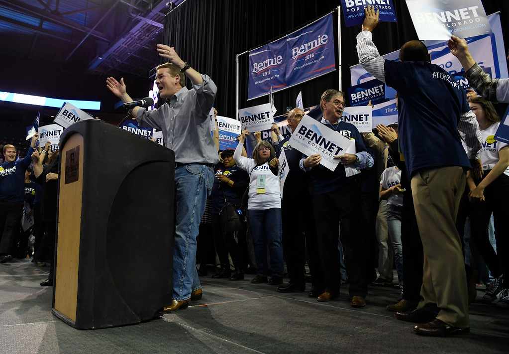 . Colorado U.S. Senator Michael Bennet takes the stage at the Colorado Democratic State Convention at the Budweiser Events Center April 17, 2016. (Photo by Andy Cross/The Denver Post)