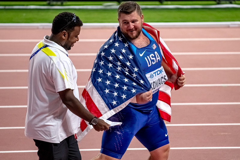 Joe Kovacs is all smiles after winning gold in the Shot Put during day nine of 17th IAAF World Athletics Championships Doha 2019 at Khalifa International Stadium on October 05, 2019 in Doha, Qatar. Photo by Tom Kirkwood/SportDXB