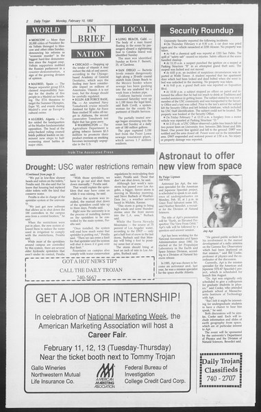 Daily Trojan, Vol. 117, No. 18, February 10, 1992