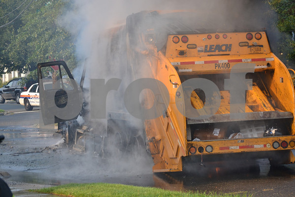 Massapequa FD Garbage Truck Fire I/F/O 5 West End Ave 8-17-12