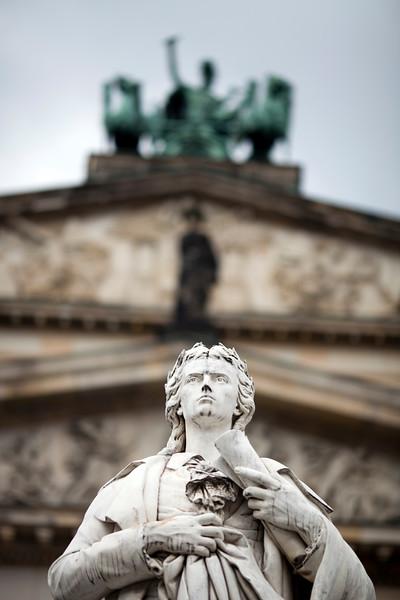 Friedrich Schiller statue in front of the Konzerthaus on Gendarmenmarkt square, Berlin, Germany