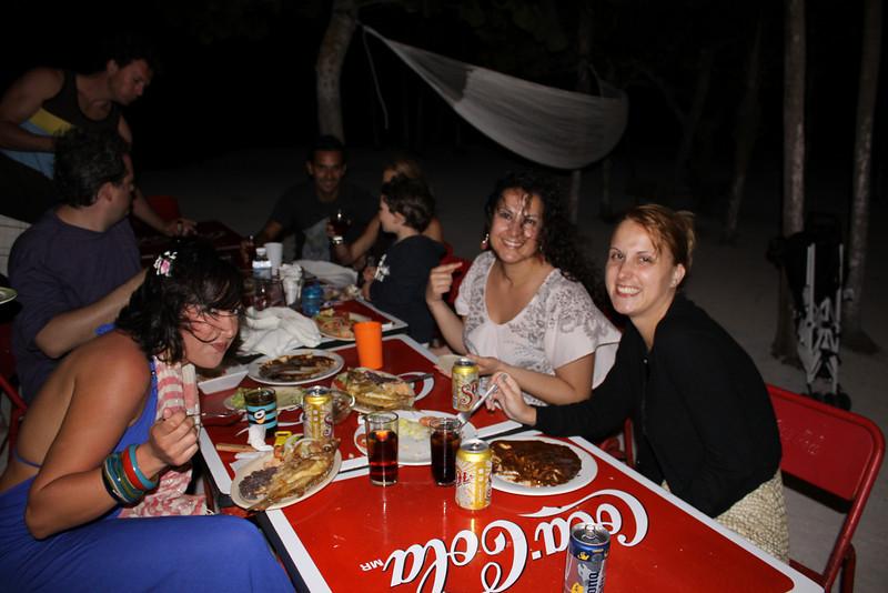 V, Leza, and Sandra at the beach party
