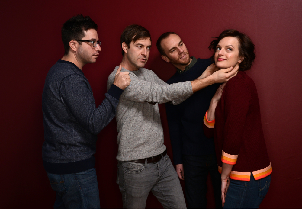 . (L-R) Filmmaker Charlie McDowell, actor Mark Duplass, filmmaker Justin Lader, and actress Elisabeth Moss pose for a portrait during the 2014 Sundance Film Festival at the WireImage Portrait Studio at the Village At The Lift on January 21, 2014 in Park City, Utah.  (Photo by Larry Busacca/Getty Images)