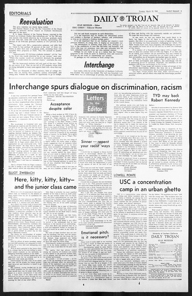 Daily Trojan, Vol. 59, No. 93, March 19, 1968