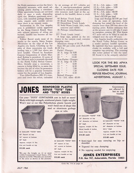 Refuse Removal Journal July 1964