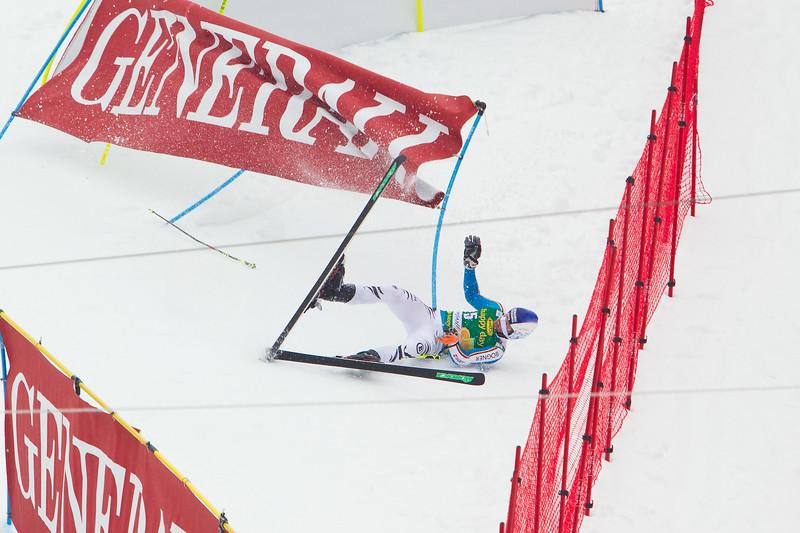 Fritz DOPFER (GER) crashing into safety nets near finish area the Vitranc race course at Audi FIS Alpine Ski World Cup Men's Giant Slalom at Kranjska Gora.