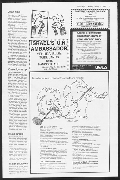 Daily Trojan, Vol. 87, No. 67, January 14, 1980