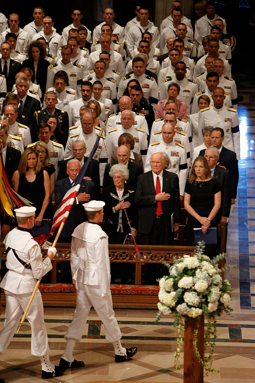 . From right to left, singer Diana Krall, astronaut, and former Ohio Sen. John Glenn, his wife Annie,  and astronaut Buzz Aldrin, stand during the processional at the Washington National Cathedral in Washington, Thursday, Sept. 13, 2012,  during a national memorial service for the first man to walk on the moon, Neil Armstrong. (AP Photo/Ann Heisenfelt)