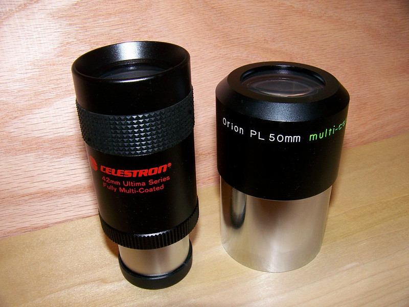 Two long focus eyepieces. On the left is a 42 mm Celestron Ultima. Great eyepiece but rather narrow field of view. Edge appears to be well corrected. On right is an Orion 50mm Plossl in two inch format.