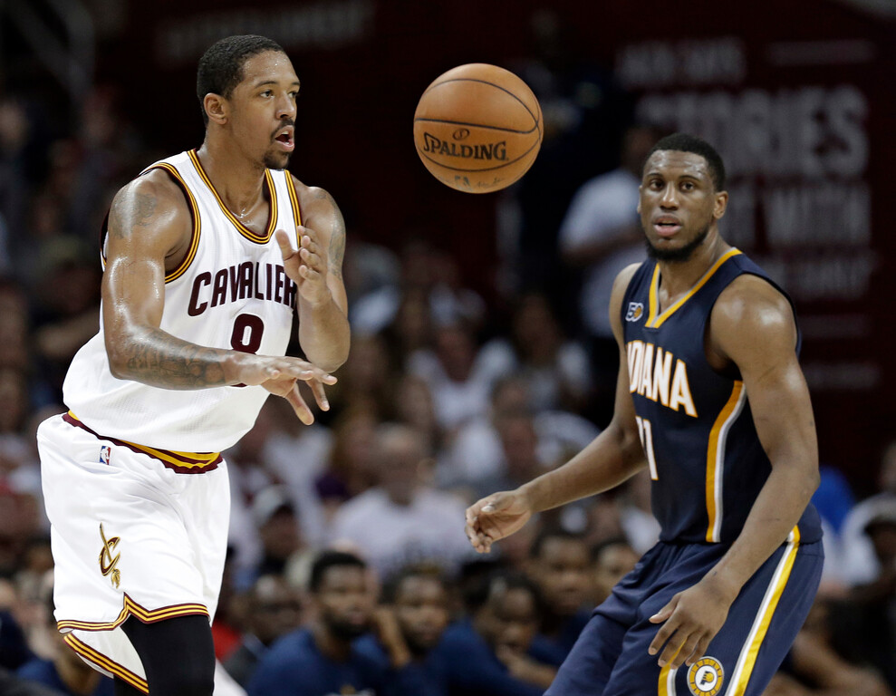 . Cleveland Cavaliers\' Channing Frye (8) passes against Indiana Pacers\' Thaddeus Young (21) in the second half in Game 1 of a first-round NBA basketball playoff series, Saturday, April 15, 2017, in Cleveland. The Cavaliers won 109-108. (AP Photo/Tony Dejak)