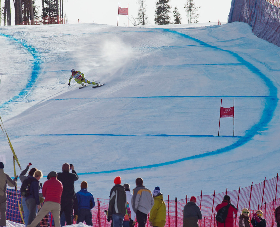 . Aksel Lund Svindal, of Norway, speeds down the course during the men\'s World Cup downhill ski race in Beaver Creek, Colo., on Friday, Nov. 30, 2012.  (AP Photo/Nathan Bilow)