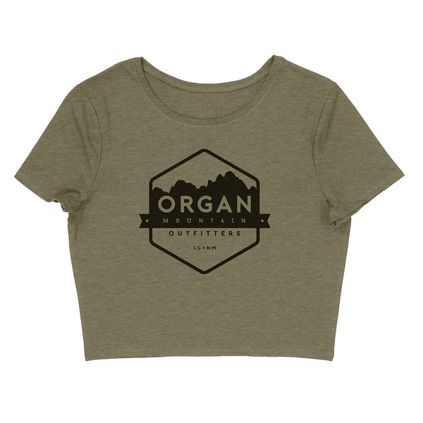 Organ Mountain Outfitters - Outdoor Apparel - Womens T-Shirt - Classic Cropped Tee - Heather Olive.jpg