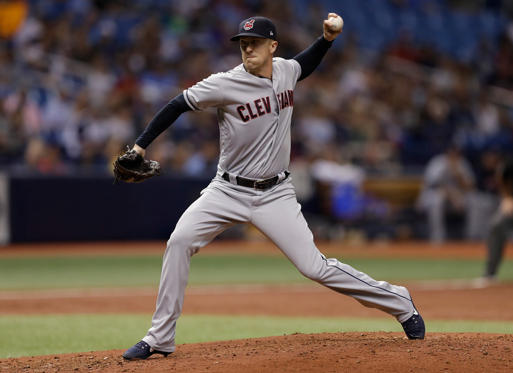. Cleveland Indians pitcher Tyler Olson during the second inning of a baseball game against the Tampa Bay Rays Monday, Sept. 10, 2018, in St. Petersburg, Fla. (AP Photo/Chris O\'Meara)