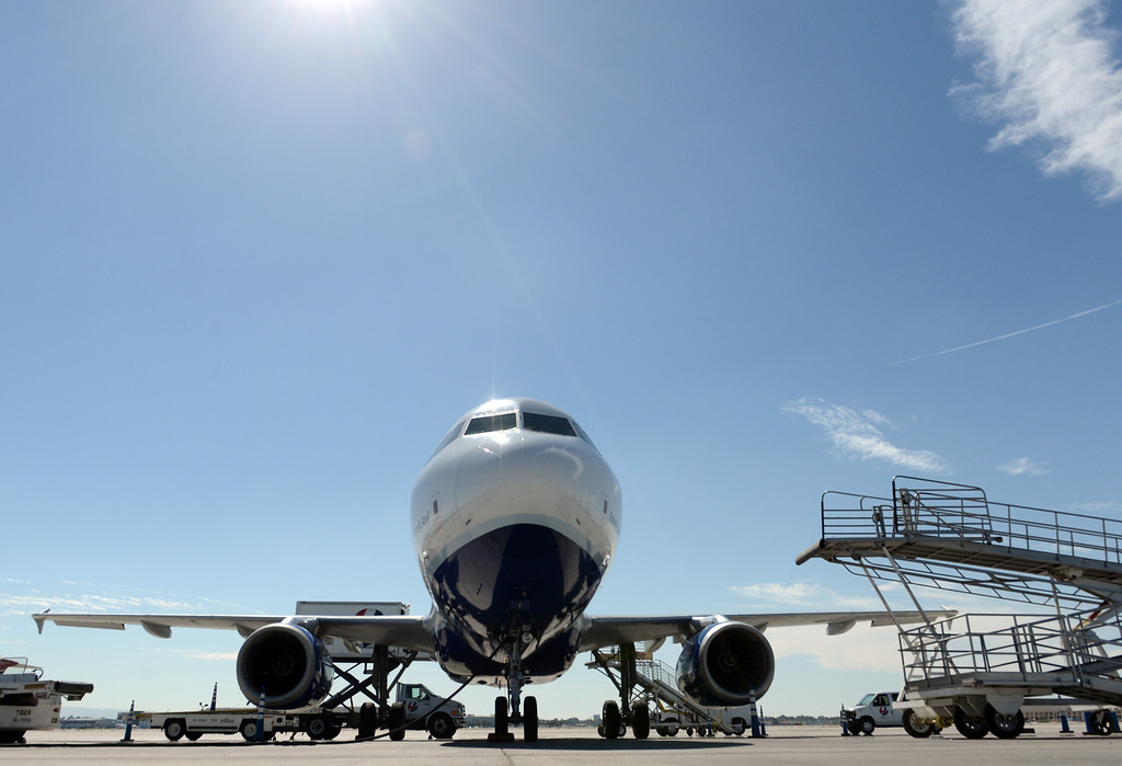 . A jetBlue plane at the Long Beach Airport August 6, 2013. (Thomas R. Cordova/Staff Photographer)