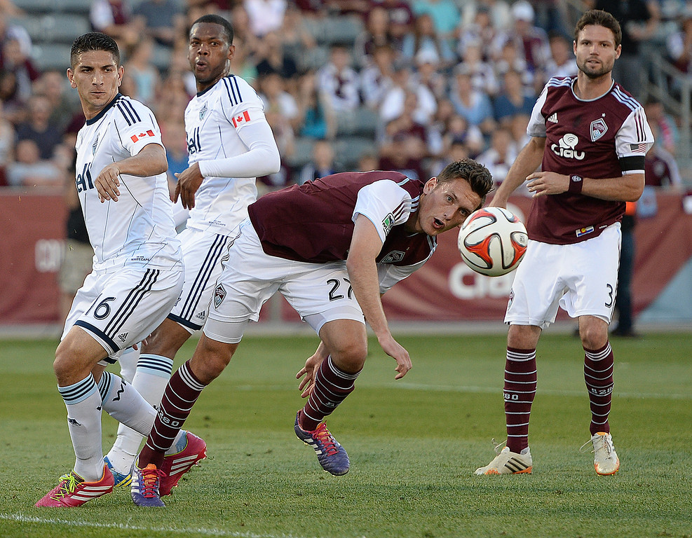 . COMMERCE CITY, CO - JUNE 28: Colorado defender Shane O\'Neill tried to get his head on a corner kick in the second half. The Colorado Rapids defeated the Vancouver Whitecaps 2-0 at Dick\'s Sporting Goods Park Saturday night, June 28, 2014.  Photo by Karl Gehring/The Denver Post