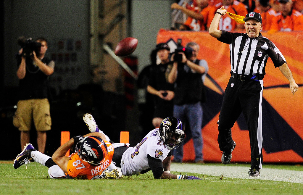 . Denver Broncos wide receiver Eric Decker (87) is called for offensive pass interference. The Denver Broncos took on the Baltimore Ravens in the first game of the 2013 season at Sports Authority Field at Mile High in Denver on September 5, 2013. (Photo by AAron Ontiveroz/The Denver Post)