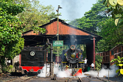 Vulcan YC 4-6-2 #629 clears cylinders on Bago Loco Shed