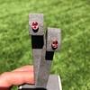 .79ctw Oval Padparadscha Sapphire Bezel Stud Earrings 1