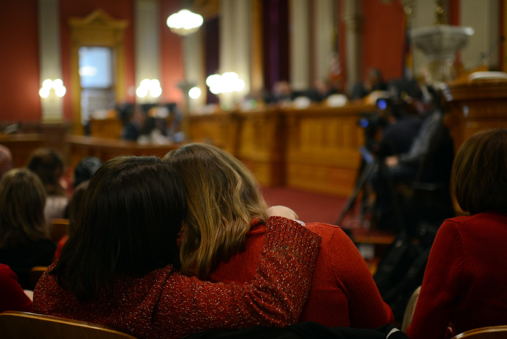 . DENVER, CO. - FEBRUARY 28: Shayna Alexander, left, and her partner Mindy Barton are listening the House Judiciary Committee\'s hearing of Senate Bill 11, which would allow gay couples to form civil unions. February 28, 2013. Denver, Colorado. (Photo By Hyoung Chang/The Denver Post)