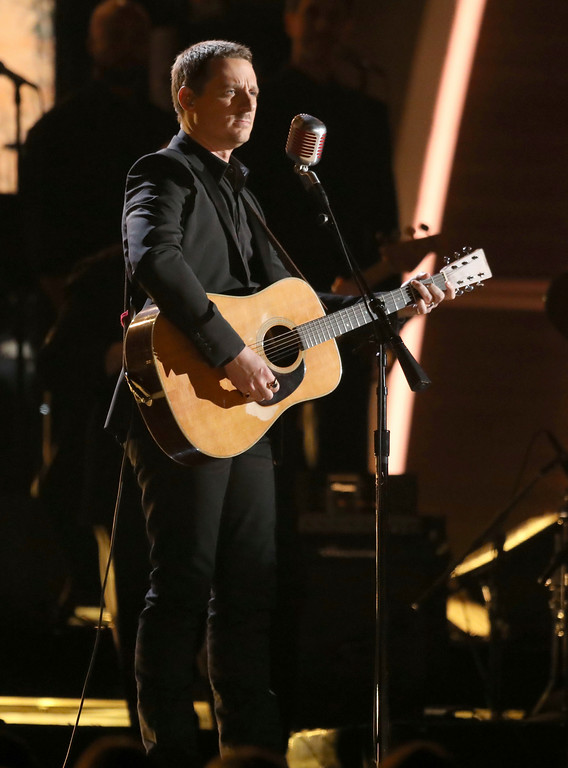 ". Sturgill Simpson performs ""All Around You\"" at the 59th annual Grammy Awards on Sunday, Feb. 12, 2017, in Los Angeles. (Photo by Matt Sayles/Invision/AP)"