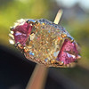 2.18ct Radiant Cut Diamond and Pink sapphire 3-Stone Ring by DBL GIA W-X, VS2 5