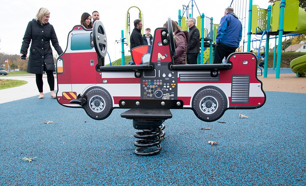 11/04/19 Wesley Bunnell | StaffrrA ribbon cutting was held at Chesley Park celebrating the completion of the Phase 2 renovation project. A toy fire truck bouncer is shown