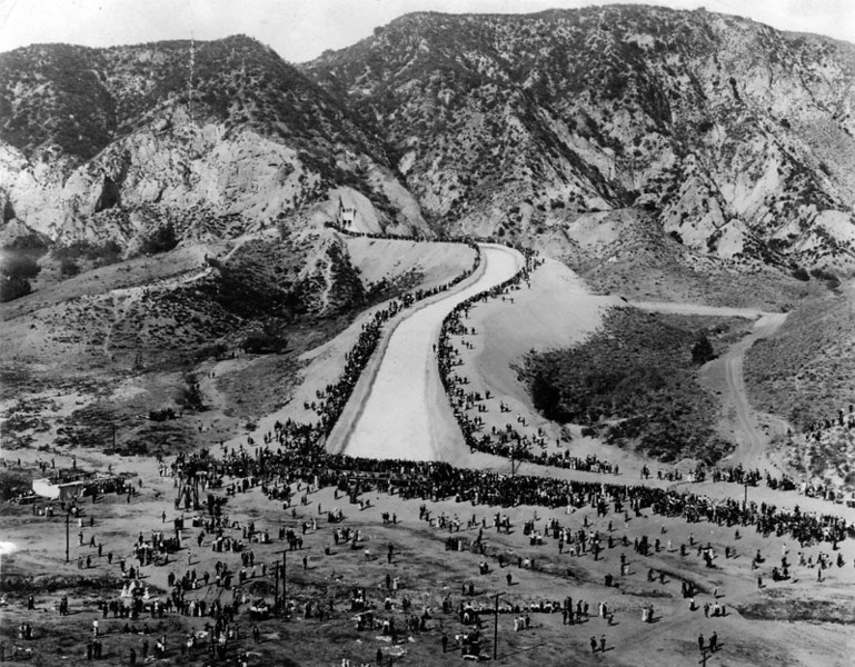 . (November 5, 1913) - Another view of the opening day celebration for the Los Angeles Aqueduct. Over 30 thousand people attended this historic event.   (DWP)