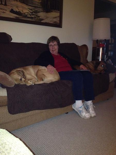 Grandma being a dog hog.