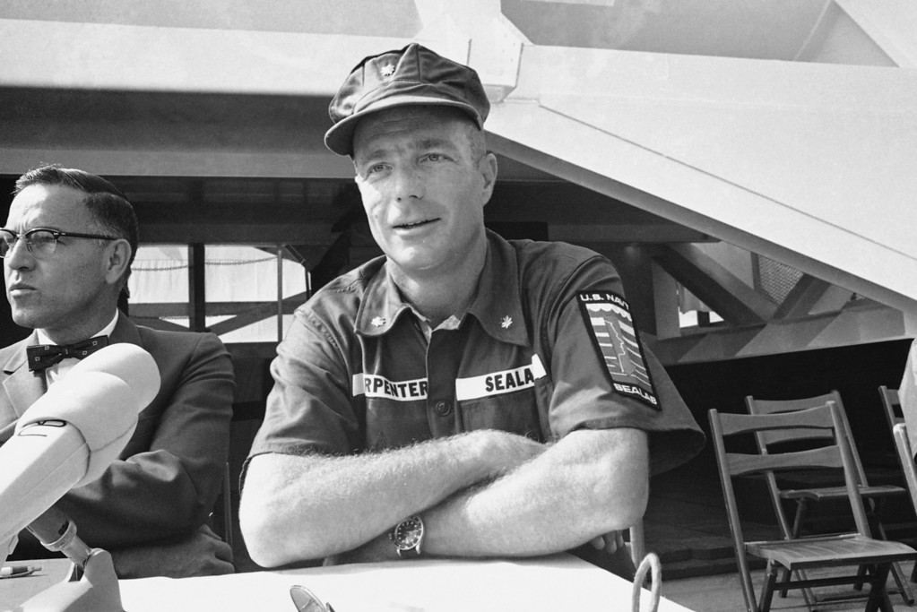 . M. Scott Carpenter, a member of America?s first group of astronauts, is now a member of the country?s first team of aquanauts. He and nine fellow members of the team were introduced at Long Beach, California on July 23, 1965 where he?s shown during a press conference at which he said he was taking part in experiments in living for extended periods under water because of similarities between investigations of space and ocean. (AP Photo/ERB)